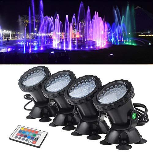 knowledgi - Juego de 4 Luces RGB con Mando a Distancia para jardín, Paisaje, luz submarina submarina para Acuario, luz LED, proyector IP68, Resistente al Agua
