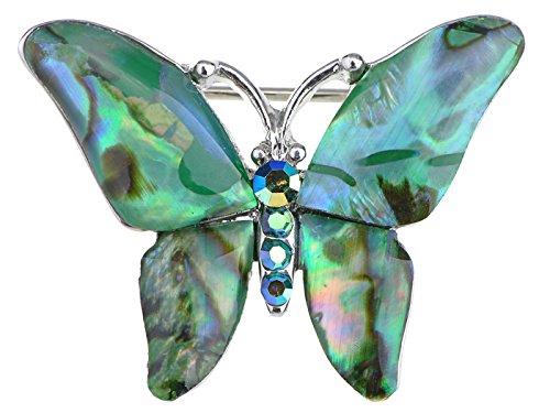 ALILANG Silber Abalone Farbige Bunt Steine Grün Blau Schmetterling Brosche