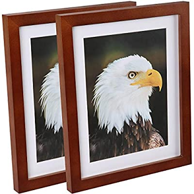 JAYONG 8x10 Picture Frames Without Mat / 6x8 Frame with Mat Made of Solid Wood High Definition Glass for Table Top Display and Wall mounting Photo Frame Brown 2 Pack