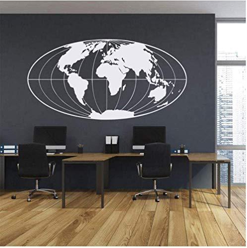 Muurtattoo wandklok wereldkaart modern Home woonkamer slaapkamer kantoor reizen indoor 83 x 42 cm
