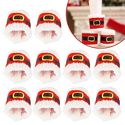 KLYNGTSK 10 Stück Weihnachten Serviettenring Serviette Kreise Rot Handtuchring Weihnachtsmann Serviettenhalter Serviette Schnalle Weihnachten Stoffserviettenring für Weihnachten Tischdekoration