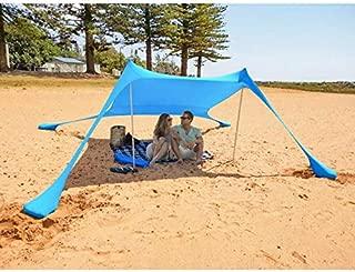 MENCOM Toldo portátil para Playa con Anclajes de Bolsas de Arena Ligero 100% Lycra SunShelter con Impermeable UV Protection 210x210CM para niños y Familia en la Playa, Parques, Camping y Picnic