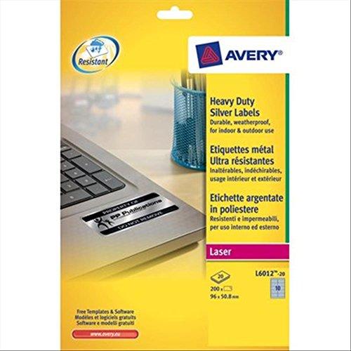 Avery L6012-20- Set di Etichette per Identificare Cavi ElettriciArgento, 96x50,8, 200 Pezzi