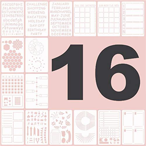 Bullet Journal Stencil Set,16 piezas Bullet Journal Plantillas Letras,Bullet Journal Plantillas para diario/cuaderno/Scrapbook/arte manualidades DIY.