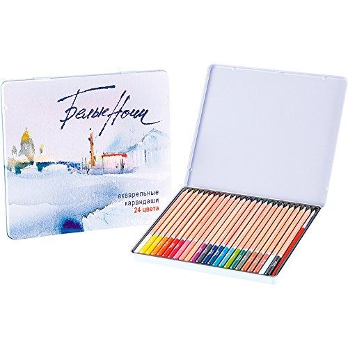 White Nights Watercolour Lápices - Lata de 24, Plus Free Brush