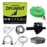 80 Feet Zip Line Kit for Kids and Adult Up to 330 lb with Zipline Spring Brake and Safety Harness, Zip line Trolley with Handle and Thickened Seat,for Backyard Playground Entertainment