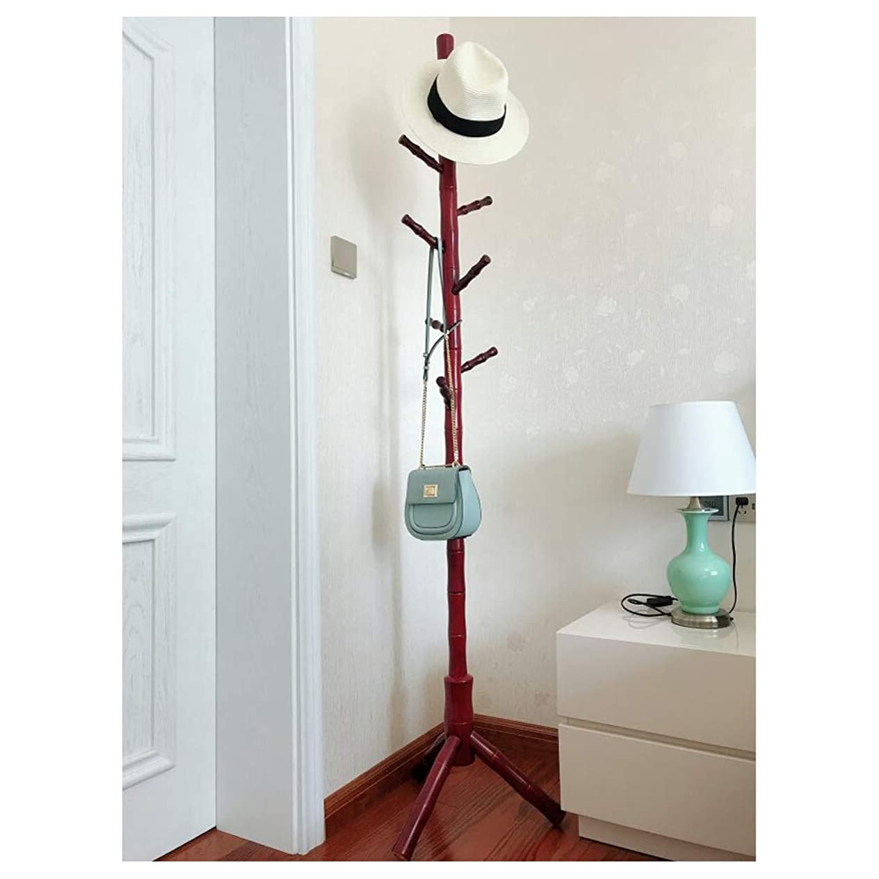 はっきりと製作作り上げる自立コートラックスタンド、シンプルな純木洋服帽子ハンガー-ジャケットローブ帽子バッグキースカーフバッグ竹祭りブナ11フック184 * 50 cm