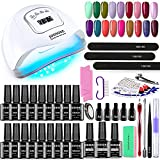 JODSONE 18 Colors Gel Nail Polish Kit with UV Light Starter Kit Gel Polish Set with UV LED Nail Lamp Base Coat Glossy & Matte Top Coat Glitter Red Gel Nail Kit Gift for Women with Manicure Nail Tool