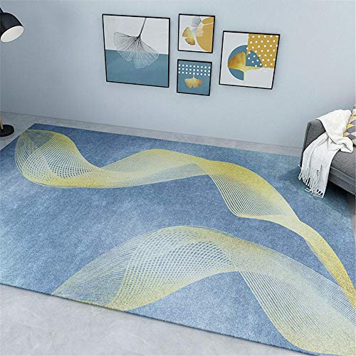 cuadros habitacion juvenil antideslizante para alfombras Alfombra de sala rectangular azul amarillo antideslizante y a prueba de humedad sin decoloración alfombra comedor grande 120X180CM 3ft 11.2'X5f