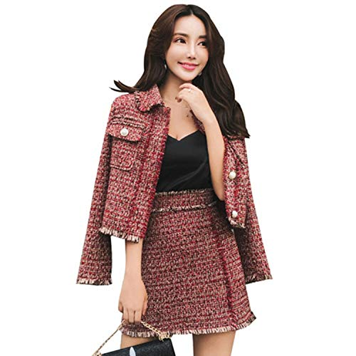 Vrouwen Rok Sets Winter Dames Tassel Wollen Tweed Jas + Korte Rok Past Twee Stuk Womens