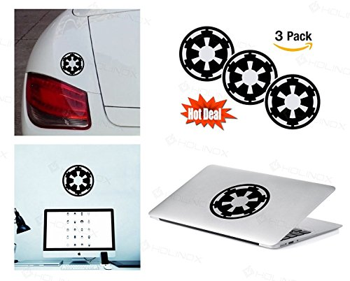 PACK of 3 STAR WARS GALACTIC EMPIRE Sticker Decal for Macbook, Laptop ,Car Window, Laptop, Motorcycle, Walls, Mirror and More. MTS019