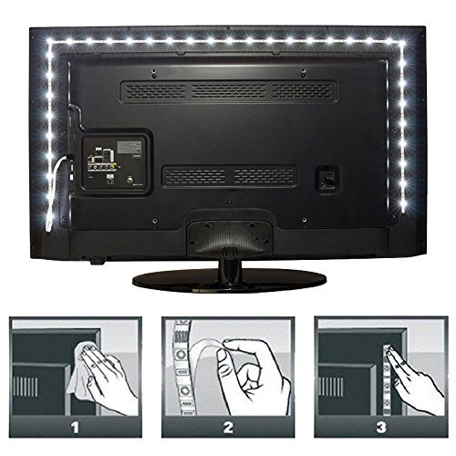 SOKATON Led Strip Lights 2M/6.6Ft TV Backlight Kit USB Bias Monitor Lighting Waterproof 5050 RGB for HDTV, Flat Screen, Desktop PC (Multi-Colored)