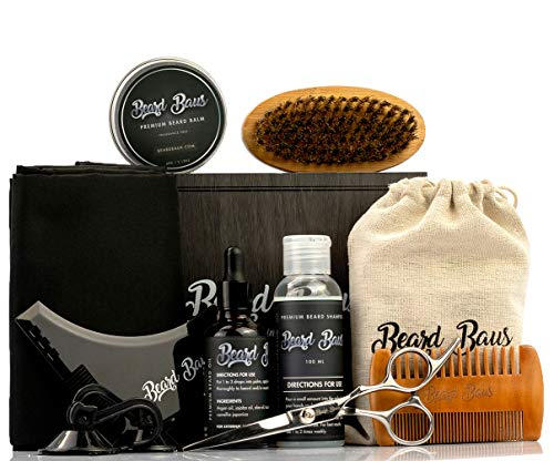 Beard Grooming Kit for Men with Brush and Comb, Unscented Beard Oil, Shampoo, Mustache or Beard Balm, Stainless Steel Trimming Barber Scissors, Apron and More, Mens Set for Styling, Shaping, Growth