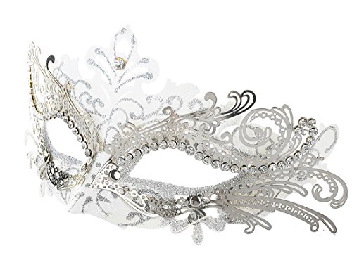 Coxeer Masquerade Mask Laser Cut Metal Masks Mardi Gras Halloween Masks for Women Ball Party (White/ Silver)