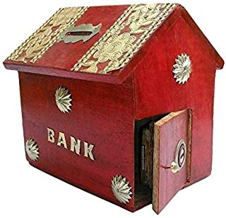 Craftatoz Crafts A to Z Antique Wooden Hut Shape Coin Bank (4x4x5 Inch, Brown)