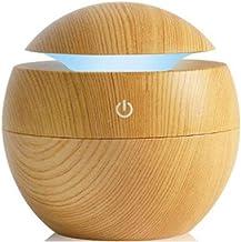 موزع روائح زيوت عطرية بالموجات فوق الصوتية مزود بضوء LED مع جهاز تعديل الرطوبة للعلاج بالروائح - لون خشبي