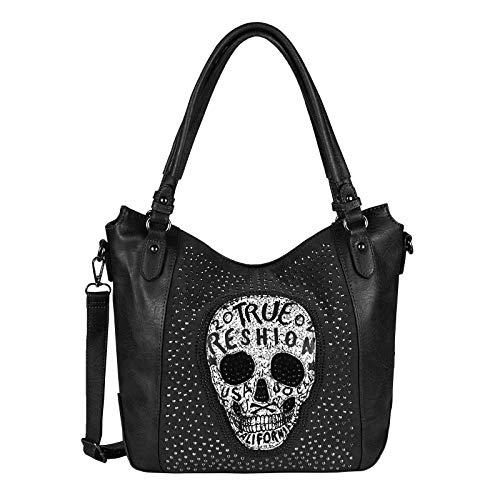 OBC Damen Totenkopf Skulls Tasche Shopper Schultertasche Handtasche Umhängetasche Crossbody Strasssteine Leder Optik (Schwarz.)