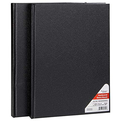 Students 7.5 x 7.5 Black Artists Watercolor Painting Square Moleskine Art Plus Soft Cover Sketch Album Sketch Pad for Drawing Sketchbook for Teens Plain