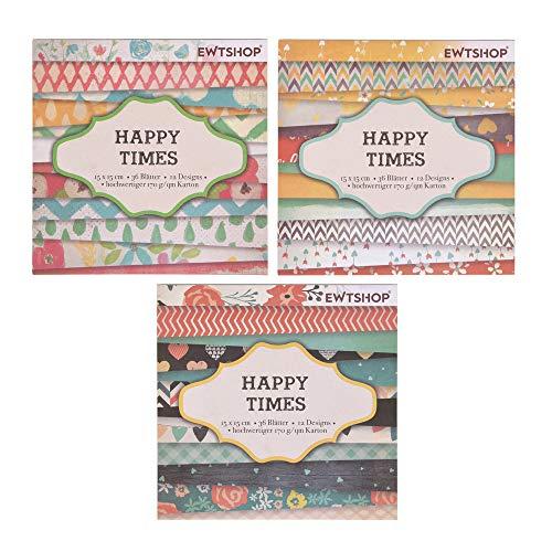 Ewtshop® 3 blocs de 36 hojas cada uno, papel de diseño, papel para manualidades, papel decorativo, 108 hojas, 36 diseños
