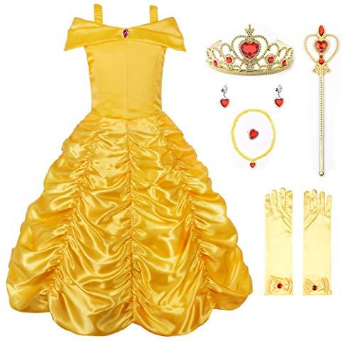 JerrisApparel Niña Princesa Disfraz Fuera del Hombro Cosplay Partido Vestido (9 años, Amarillo con Accesorios)