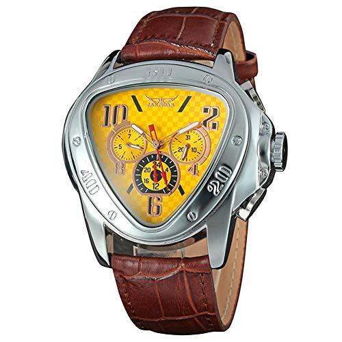 Yisuya - Orologio da polso da uomo con movimento meccanico automatico, modello militare, quadrante triangolare, con calendario, formato 24 ore, sportivo, cinturino in pelle, colore marrone e giallo