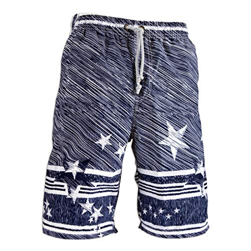Board Shorts Men's Swim Trunks Beach with NO Lining,Holiday Party Swim Pants More comfertable (XL Size, Meteor Shower - Blue