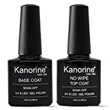 KANORINE ™ Base e Top Coat UV/LED No Wipe Smalto in Gel - Set Composto da Semipermanente Smalto Semipermanente per Unghie in Gel 10ml x2