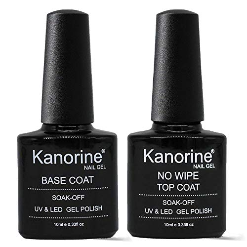 KANORINE ™ Base Coat Top Coat UV LED Gel Nagellack Gellack Unterlack & Überlack Set Nägel Maniküre Kit 2×10ml