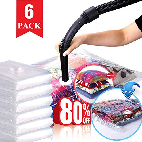HELLOCAM Vacuum Storage Bag 6 Bags - 2 JUMBO 40×30inch(100×80cm) + 4 LARGE 32×24inch(80×60cm) Stronger,Higher,Quality, Bedding, Pillows, Clothes, Quilts, Sweater