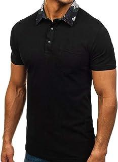 Polos Hombre Manga Corta, Camisas Basica Verano Cuello de Camuflaje Polo Solapa Slim Fit Camiseta Golf Tennis T-Shirt Trab...
