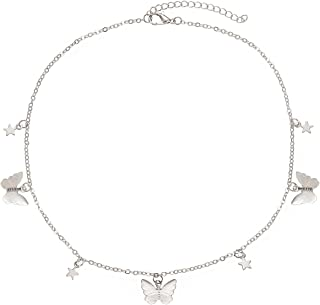 PHALIN Butterfly Necklace for Women Cute Butterfly Star Choker Necklaces Delicate Chain Necklace for Girls Summer Beach Je...