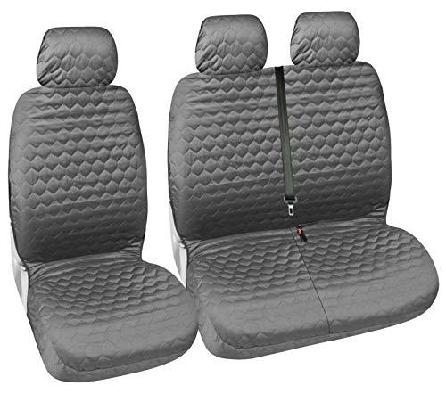 Flexzon - Fundas universales para asientos de furgoneta (2+1, tela suave, aspecto de diamante, color gris