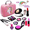 Senrokes Washable Makeup Unicon Cosmetic Toy Girls Play Real Makeup Kit, Princess Unicon Makeup for Girls / Toddlers, Safe & Non Toxic Beauty Set for 3 4 5 6 7 8 9 10 Year Old Girl Birthday Gifts.