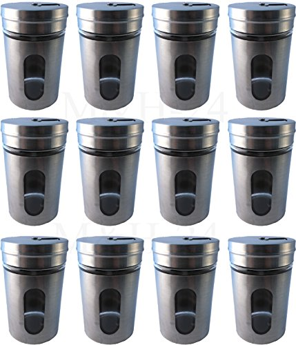 12 Stück Gewürzstreuer Set Gewürzdose Salzstreuer Pfefferstreuer aus Glas & Edelstahl Vorratsglas Streudose mit Streuregulierung zur Gewürze Aufbewahrung 80 ml - M&H-24
