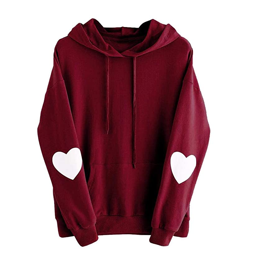 GOVOW Womens Casual Soft Long Sleeve Heart Hoodie Sweatshirt Jumper Hooded Pullover Tops Blouse