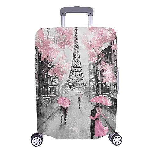 InterestPrint European France Paris Eiffel Tower Travel Luggage Cover Suitcase Protector Fits 18'-21' Suitcase