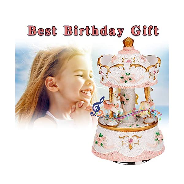 LOVE FOR YOU Carousel Horse Valentine's Music Box Cute Toy Present Birthday Gift for Baby Girls Children Daughter… 5