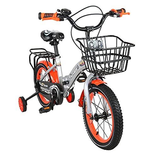 KEN ROD Bicicletas Infantiles   Bicicleta Niños de 4 a 9 años   Bici con Ruedines y Cesta   Bicicletas con Ruedines   Color: Gris 18 Pulgadas