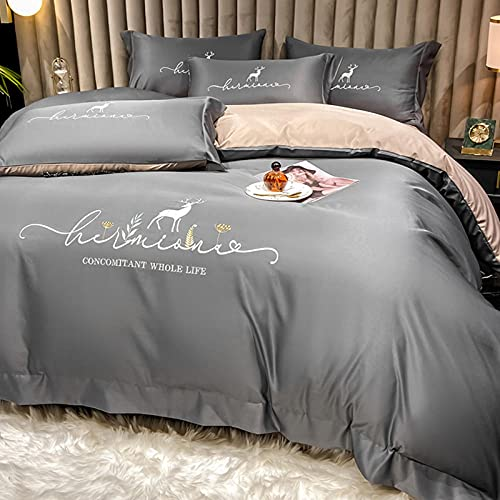 Exlcellexngce Duvet Cover Double Bed,Four-Piece Silk Bed Linen, Summer Net Celebrity New Skin-Friendly Duvet Cover With Pillowcase, Family Hotel Bedding For Boys And Girls-B_1.8m Bed(4pcs)
