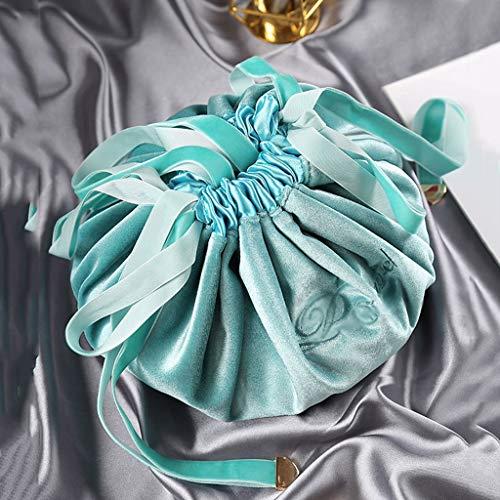 DSJSP Pull-out Sac cosmétique pratique sac de rangement rouge à lèvres soins de la peau Masque sac de rangement en tissu Matériel en peluche avec cordon de serrage sentir à l'aise Rose Bleu Sac cosmét