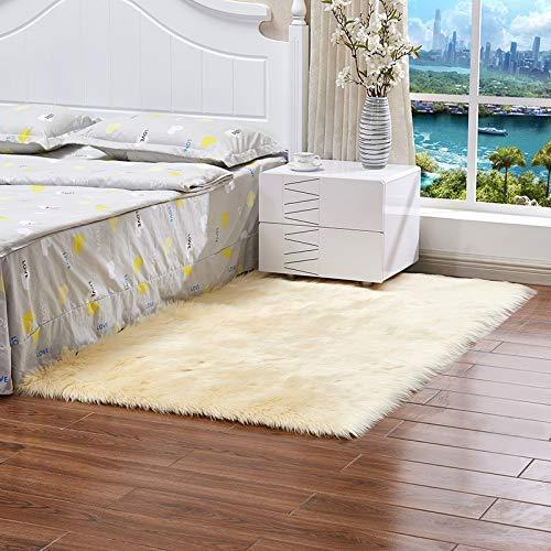 Ningb Schlafzimmerteppich Kunstwolle Sofa Teppich Teppich Ganze Wolle Kissen Wohnzimmer Lange Plüsch Decke Baby Kinderzimmer Kinderzimmer Teppich hellgelb