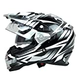 THH TX-27 Dual Sports Motorcycle Full Face Helmet (XX-Large, Black and White)