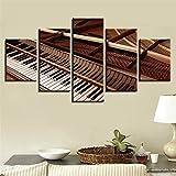 Póster de pintura en lienzo moderno 5 paneles Piano Instrumentos musicales Arte de la pared Decoración del hogar Imágenes impresas en HD 20x35cmx2/20x45cmx2/20x55cm Marco interior