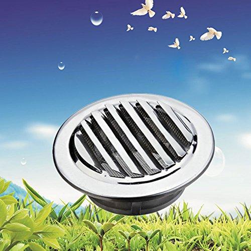 Lüftungsgitter, 80mm / 100mm / 120mm Edelstahl Rund Abluftgitter Lüftungsgitter, Luftgitter mit Flansch-Insektenschutz, für Wählen Belüftungss