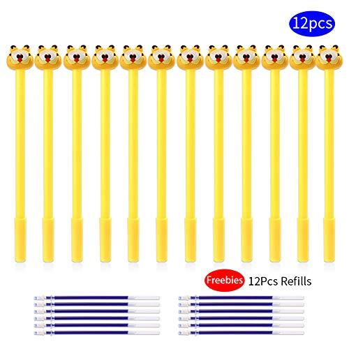 12Pcs Creative Cartoon Cat Tiger Animal Gel Pens & 12Pcs Blue Ink Refills Kawaii Pen School Office Supply Funny Cute Stationery Novelty Material Accessory Kawai Thing for Kids Women, 24Pcs Bulk Arkin