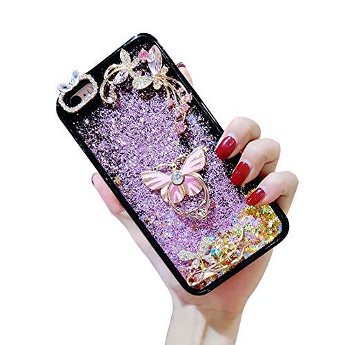 Samsung Galaxy Note 8 Strass Paillettes Coque,YiCTe Bling Coloré Cascade Souple Silicone Housse de Protection Arrière Gel TPU Étui de Téléphone,Papillon Doigt Grip Support en métal,Rose charmant