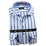 [ルイス&クラーク] ドレスシャツ ワイシャツ シャツ メンズ 国産 長袖 綿100% コンフォート カッタウェイワイドカラー シックシンストライプ ホワイト スカイブルー 1912 LL