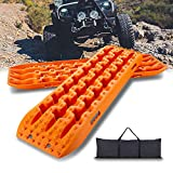 IKURAM Recovery Boards Traction Tracks Mat, 2 Pcs Traction Boards Offroad with Bag for 4X4 Jeep Off-Road Mud, Sand, Snow Traction Ladder, Track Tire Ladder, Tire Traction Tool