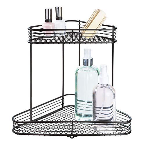 iDesign Vienna Metal Wire Standing Vanity Caddy, 2-Tier Baskets for Countertops, Desks, Dressers, Bathroom, Set of 1, Corner Shelf