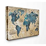 Stupell Industries Vintage Abstract World Map Design Decorative Wall Hangings, multi-color